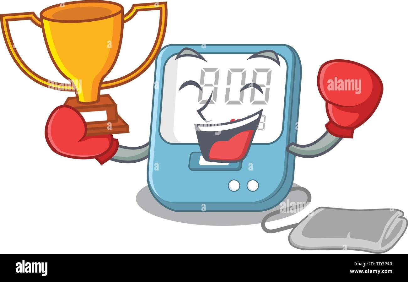 Boxing winner blood pressure toy above cartoon table - Stock Image