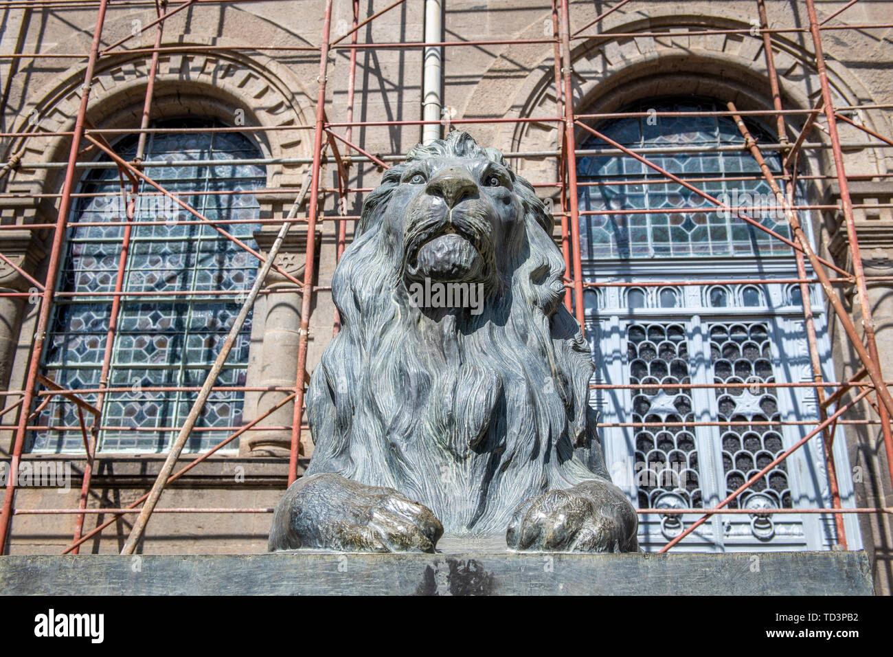 A bronze lion outside of Beata Maryam Church, Addis Ababa, Ethiopia. - Stock Image