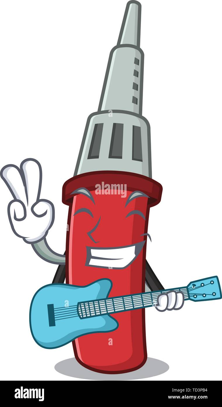 With guitar soldering iron in the character shape - Stock Image