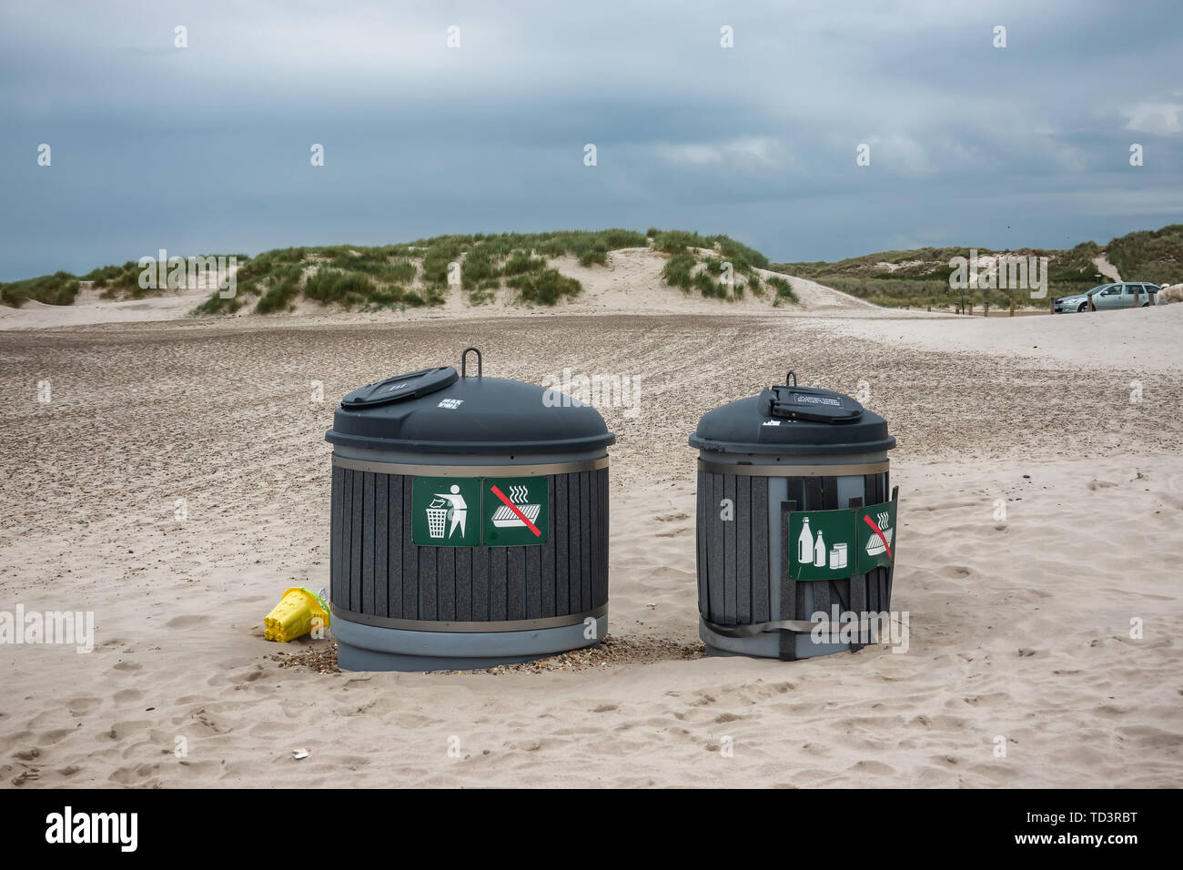 Litter containers on Henne beach in Denmark - Stock Image
