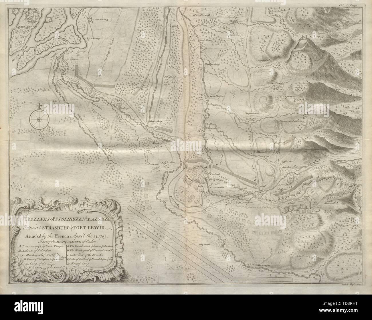 The Lines of Stolhoffen… 1703. Stollhofen, Baden-Württemberg. DU BOSC 1736 map - Stock Image