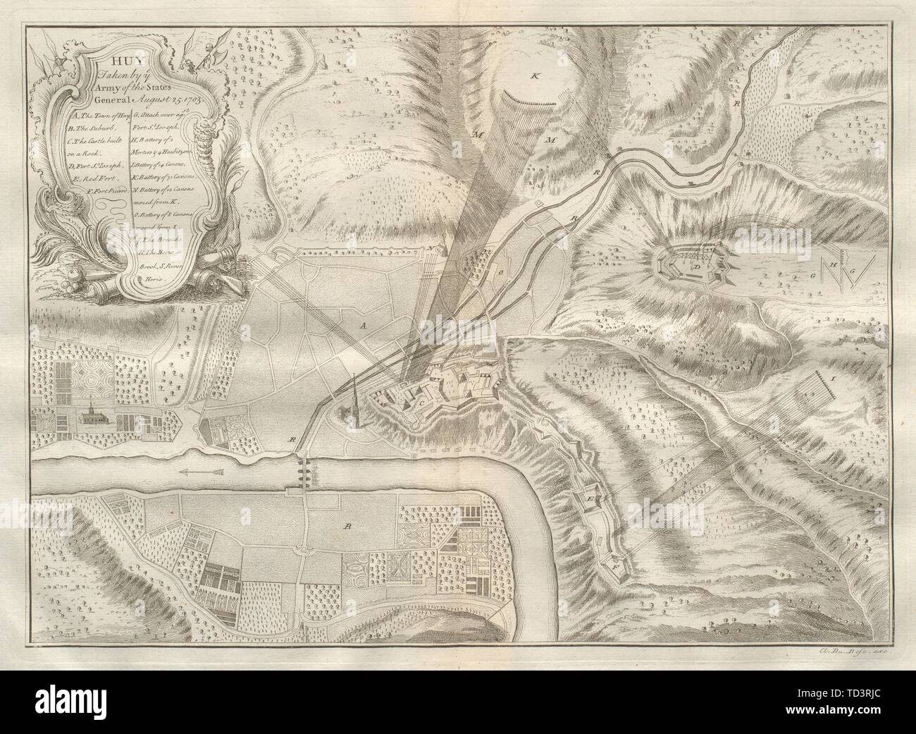 Huy taken by ye Army of the States General. 1703. Belgium. DU BOSC 1736 map - Stock Image