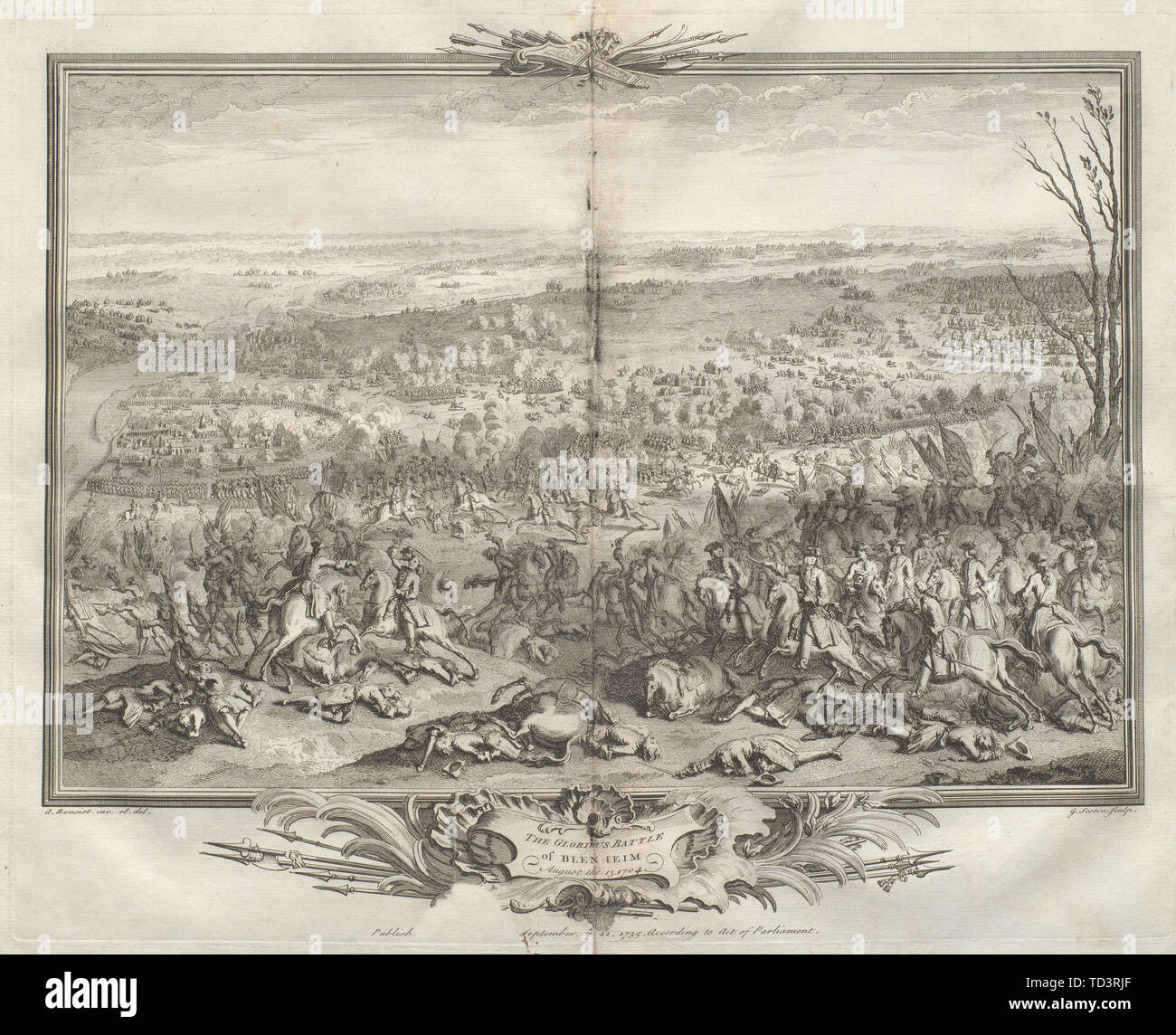 The glorious Battle of Blenheim August the 13, 1704. Germany. Höchstädt 1736 - Stock Image