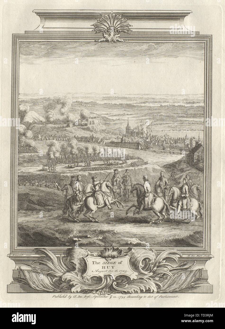 The Siege of Huy, August the 16, 1703. Belgium 1736 old antique print picture - Stock Image