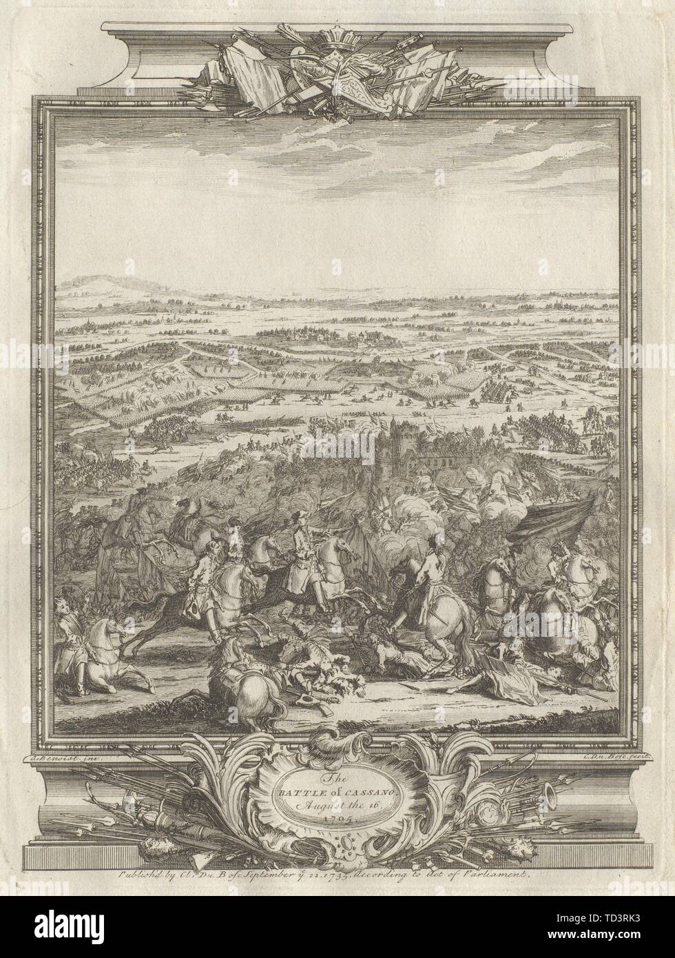 The Battle of Cassano August the 16, 1705. Cassano d'Adda,Lombardy 1736 print Stock Photo