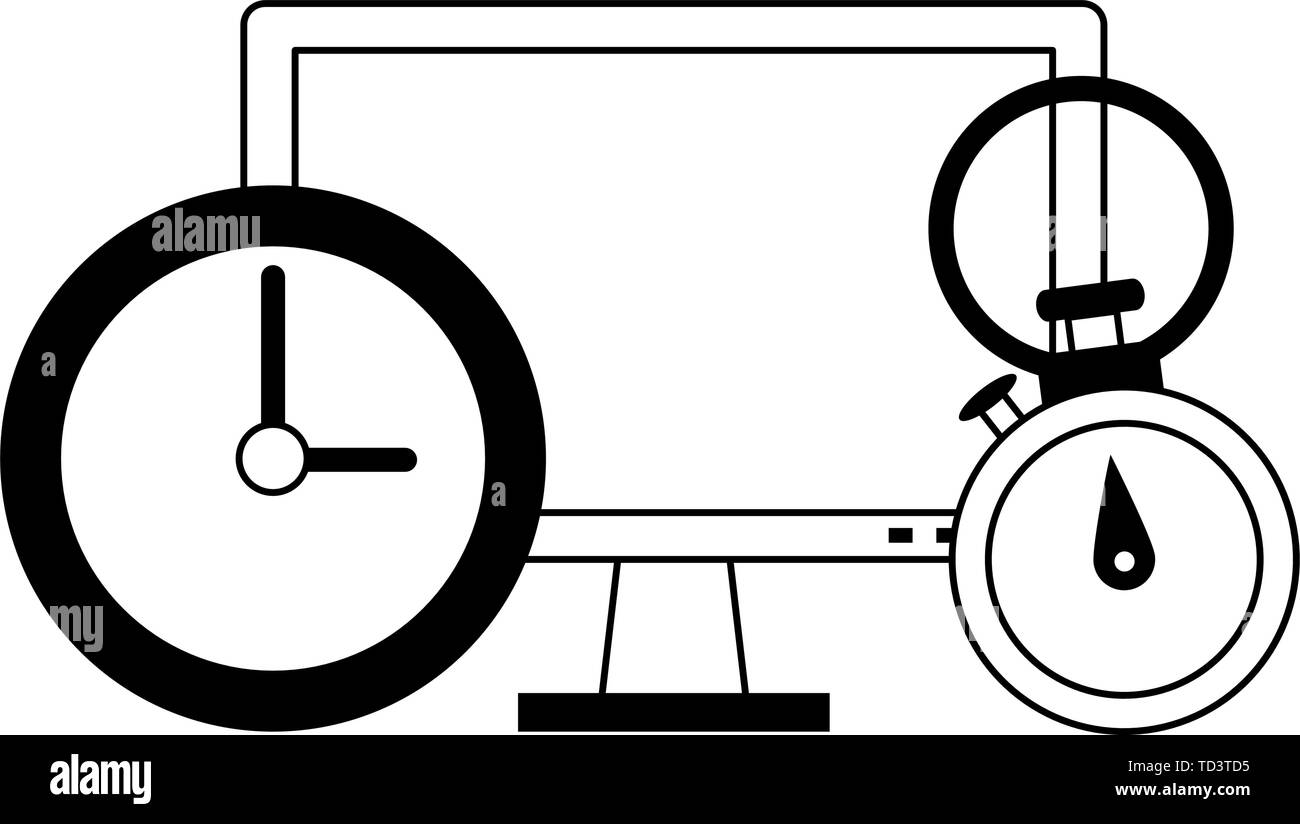 Computer hardware screen with timer and clock in black and white - Stock Image