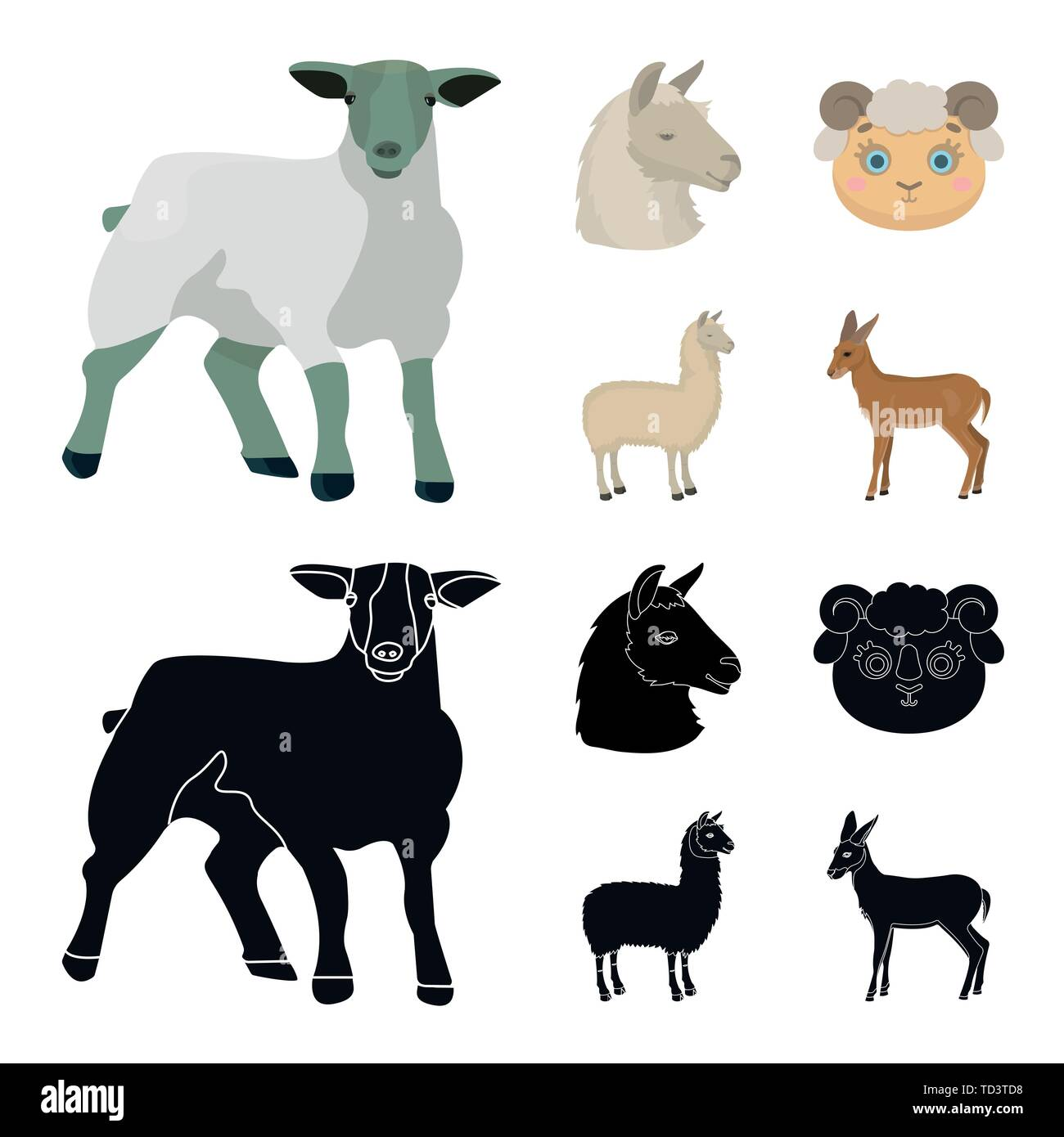 Vector illustration of sheep and goat icon. Collection of sheep and happy  vector icon for stock. - Stock Vector