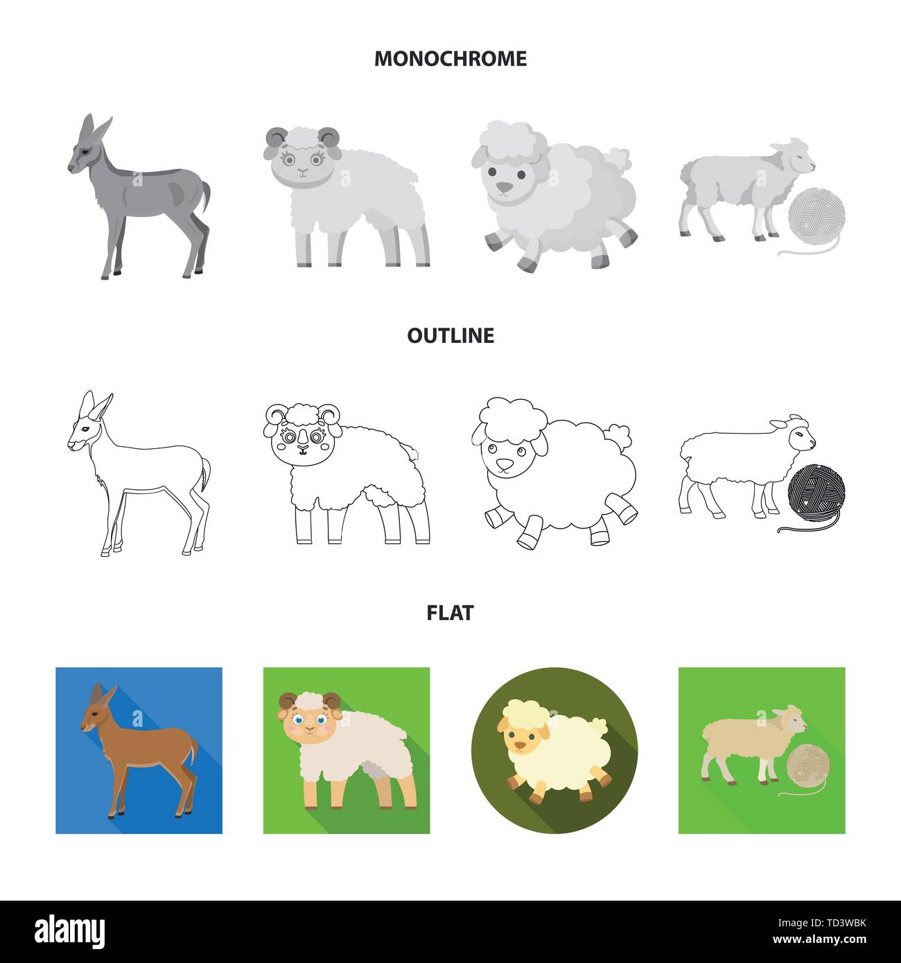 Vector illustration of sheep and goat symbol. Collection of sheep and happy  stock vector illustration. - Stock Vector