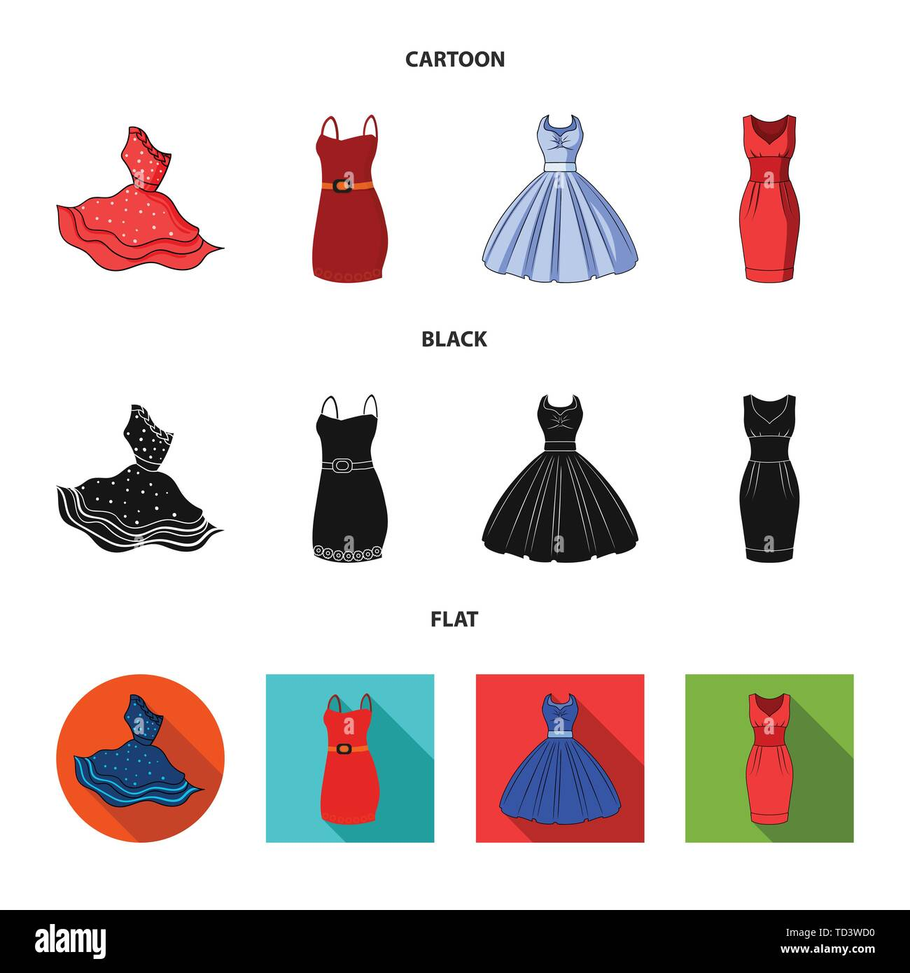 Vector illustration of dress and clothes sign. Collection of dress and evening vector icon for stock. - Stock Vector