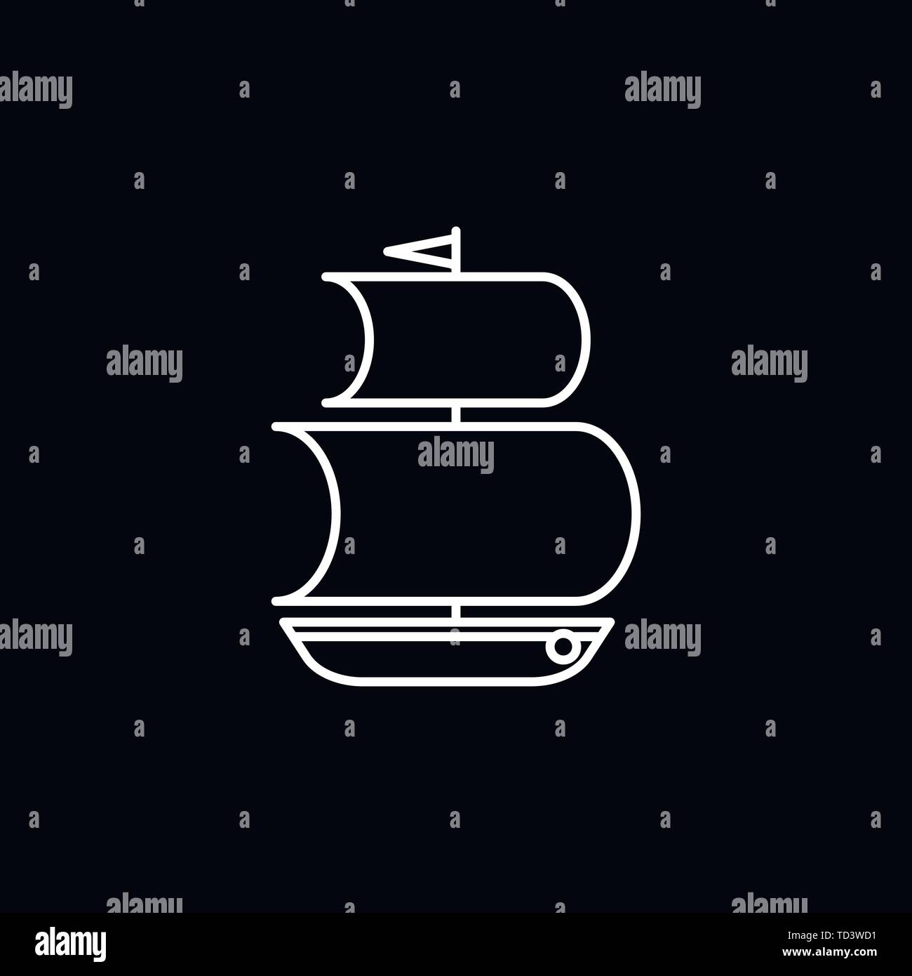 Boat icon vector in trendy flat style isolated on white background. boat icon image, boat icon illustration - Stock Image