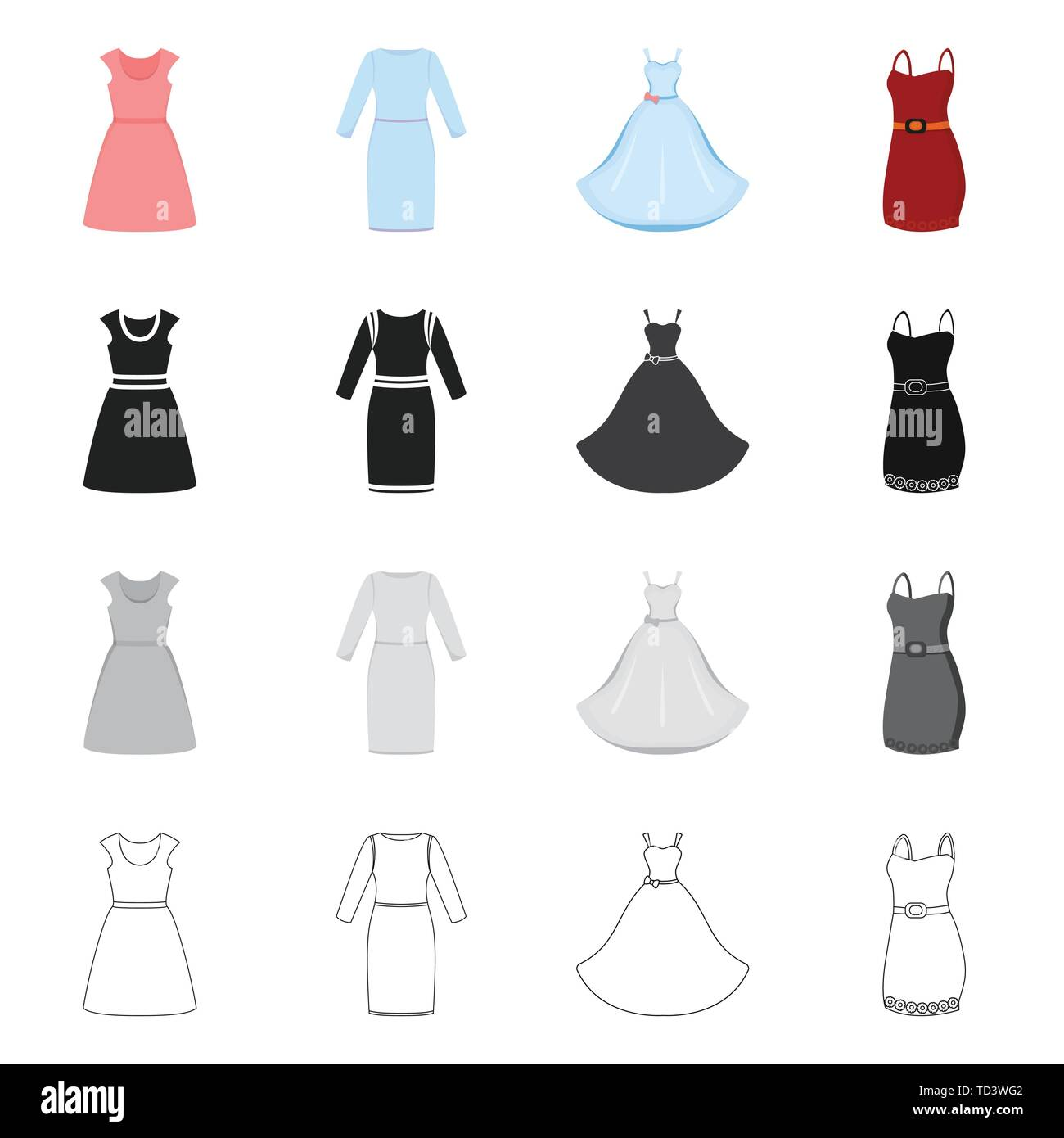 Isolated object of dress and clothes symbol. Set of dress and evening vector icon for stock. - Stock Vector