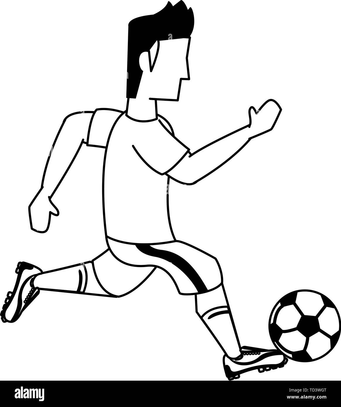 Soccer Player Sport Game Cartoon In Black And White Stock Vector Image Art Alamy