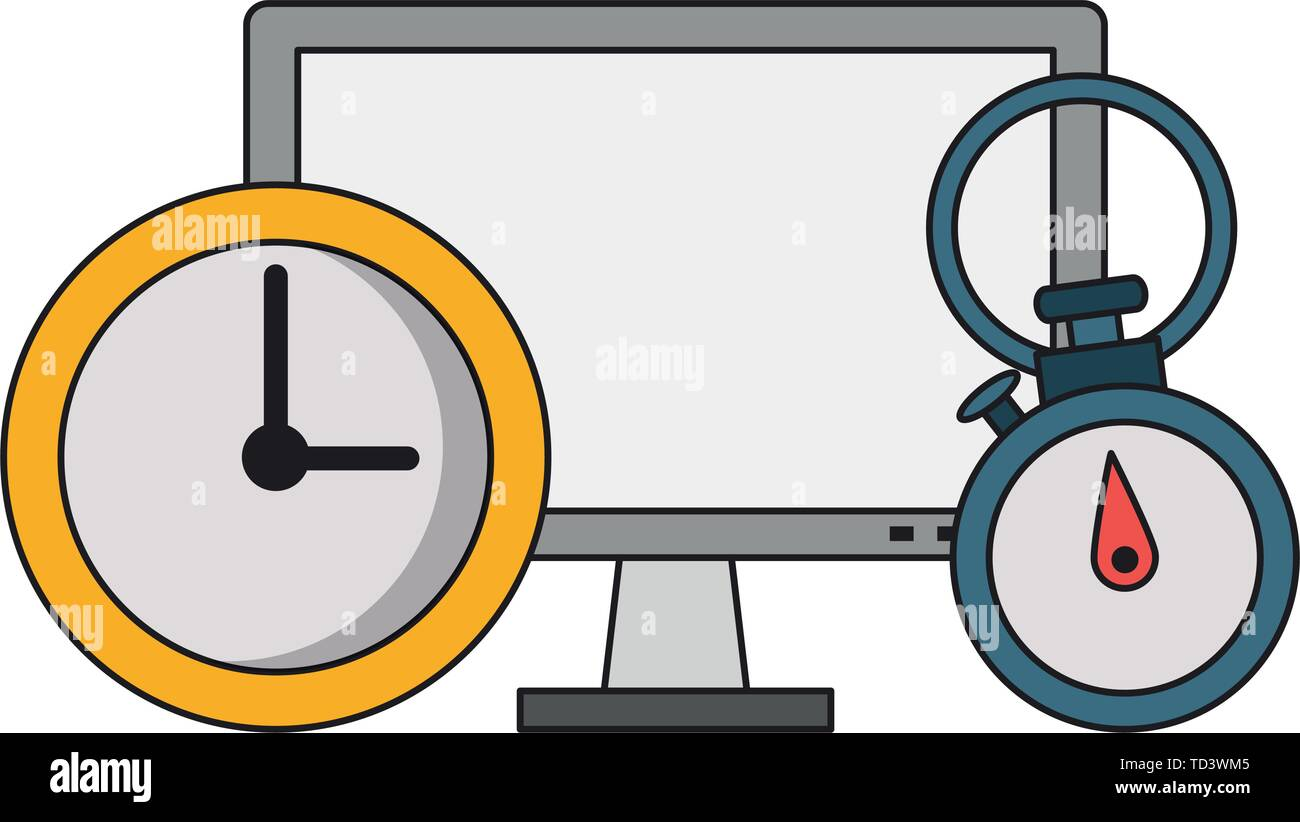 Computer hardware screen with timer and clock - Stock Image