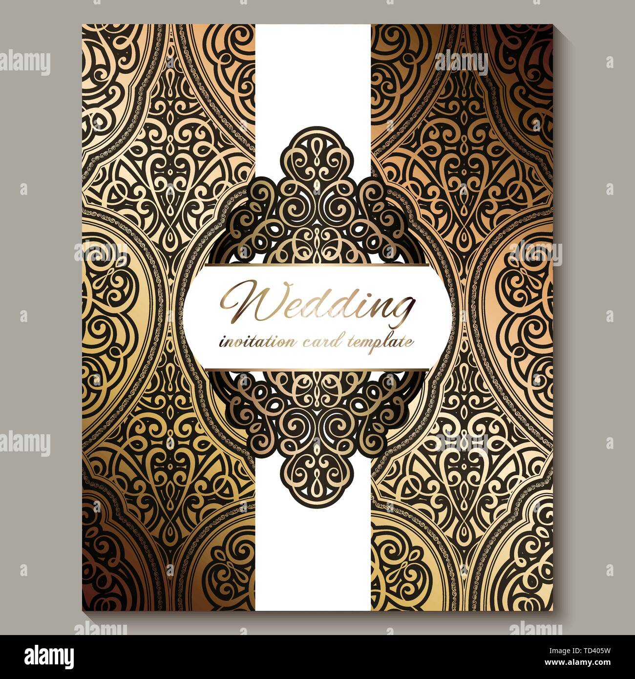 Wedding Invitation Card With Black And Gold Shiny Eastern
