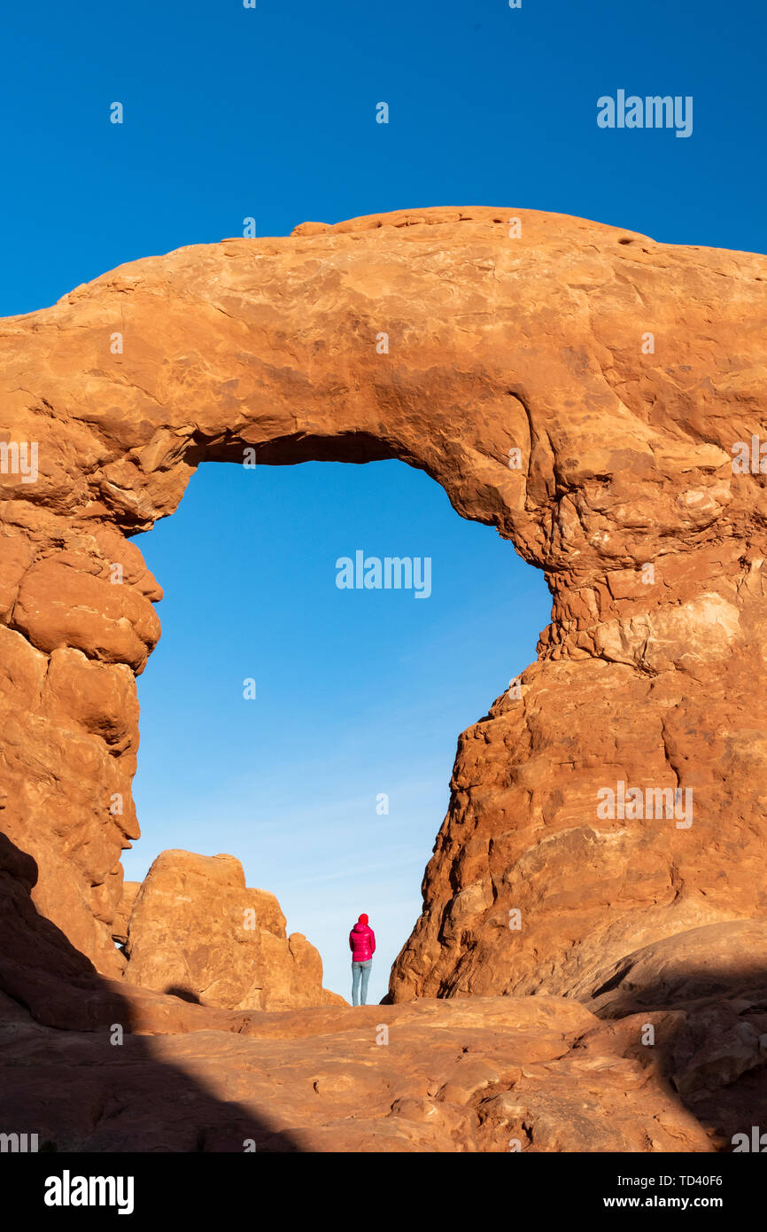 Windows Arches, Arches National Park, Moab, Utah, United States of America, North America - Stock Image