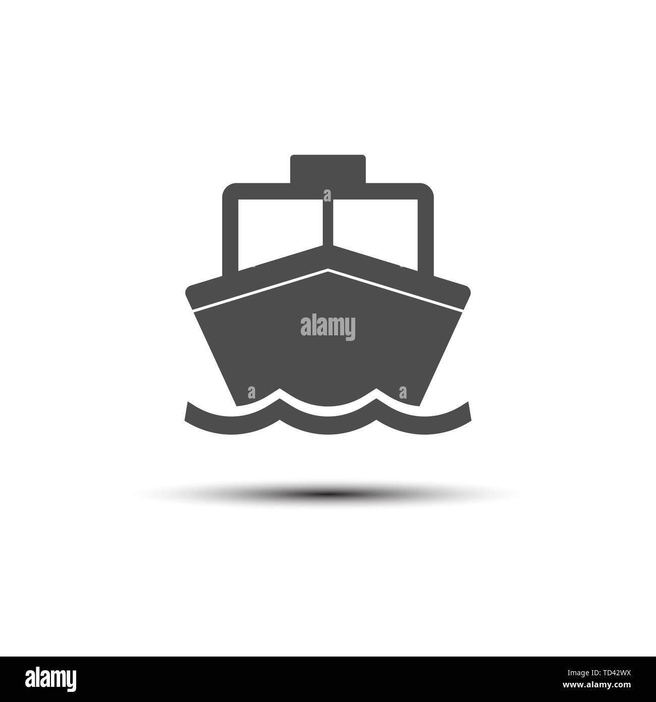 Boat, sail, sailing, ship, yacht icon. Vector illustration, flat design. - Stock Image
