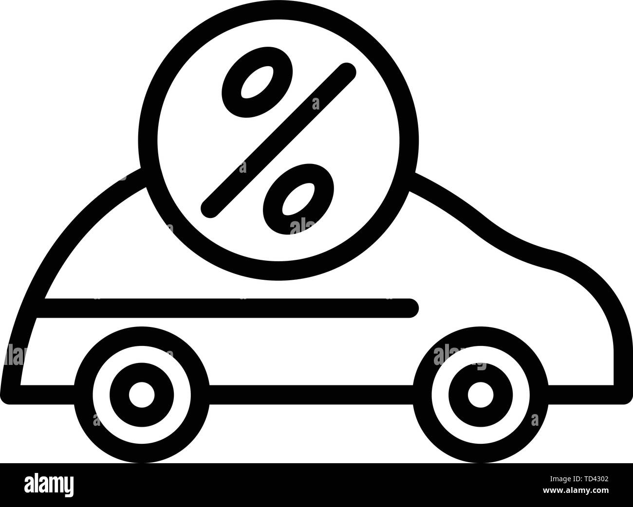 Car loan interest icon, outline style Stock Vector