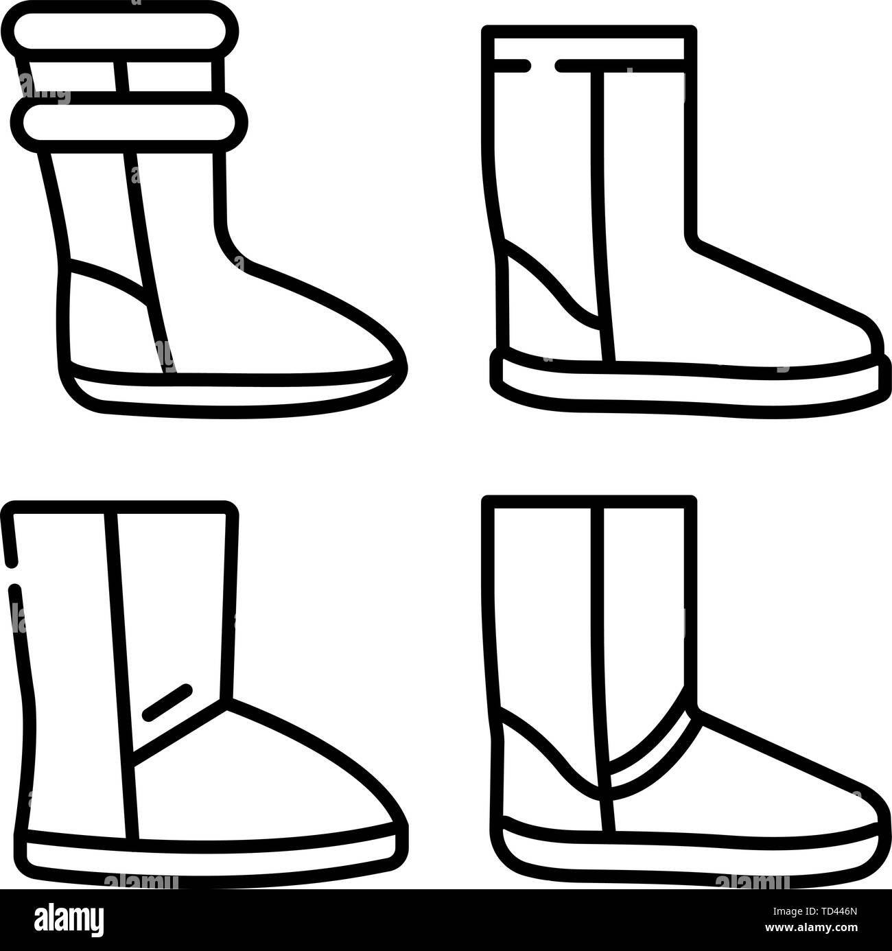 27701e03400 Ugg boots icons set, outline style Stock Vector Art & Illustration ...