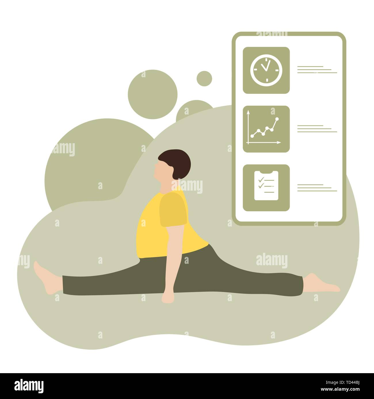 Vector illustration with person does yoga exercise, yoga pose and