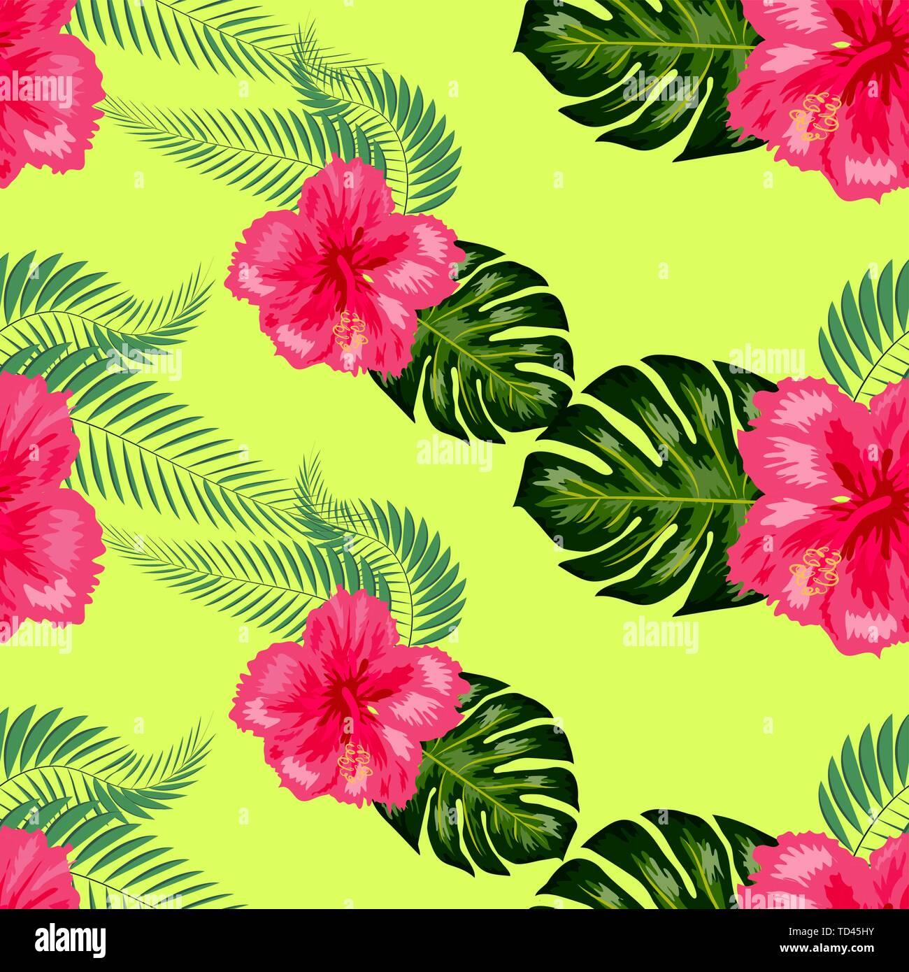 Tropical Vintage Hibiscus Plumeria Floral Green Leaves Seamless