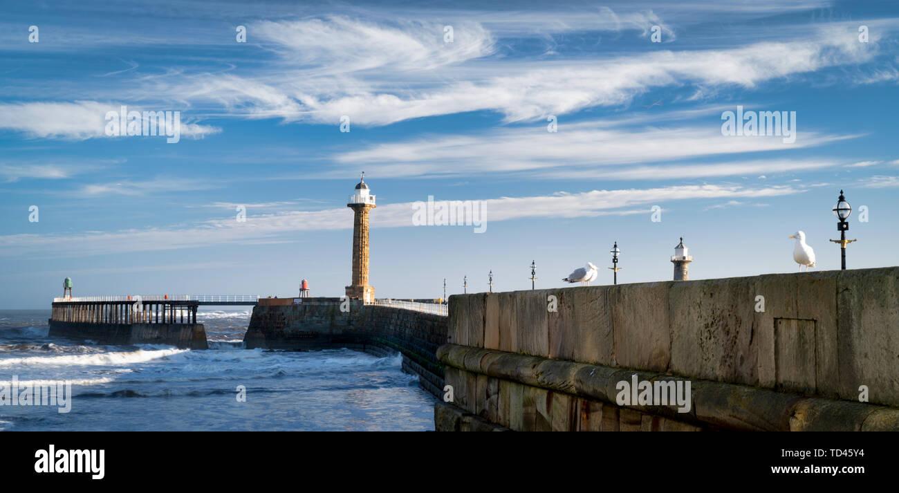 Whitby West Pier panorama and lighthouses, Whitby, North Yorkshire, Yorkshire, England, United Kingdom, Europe - Stock Image
