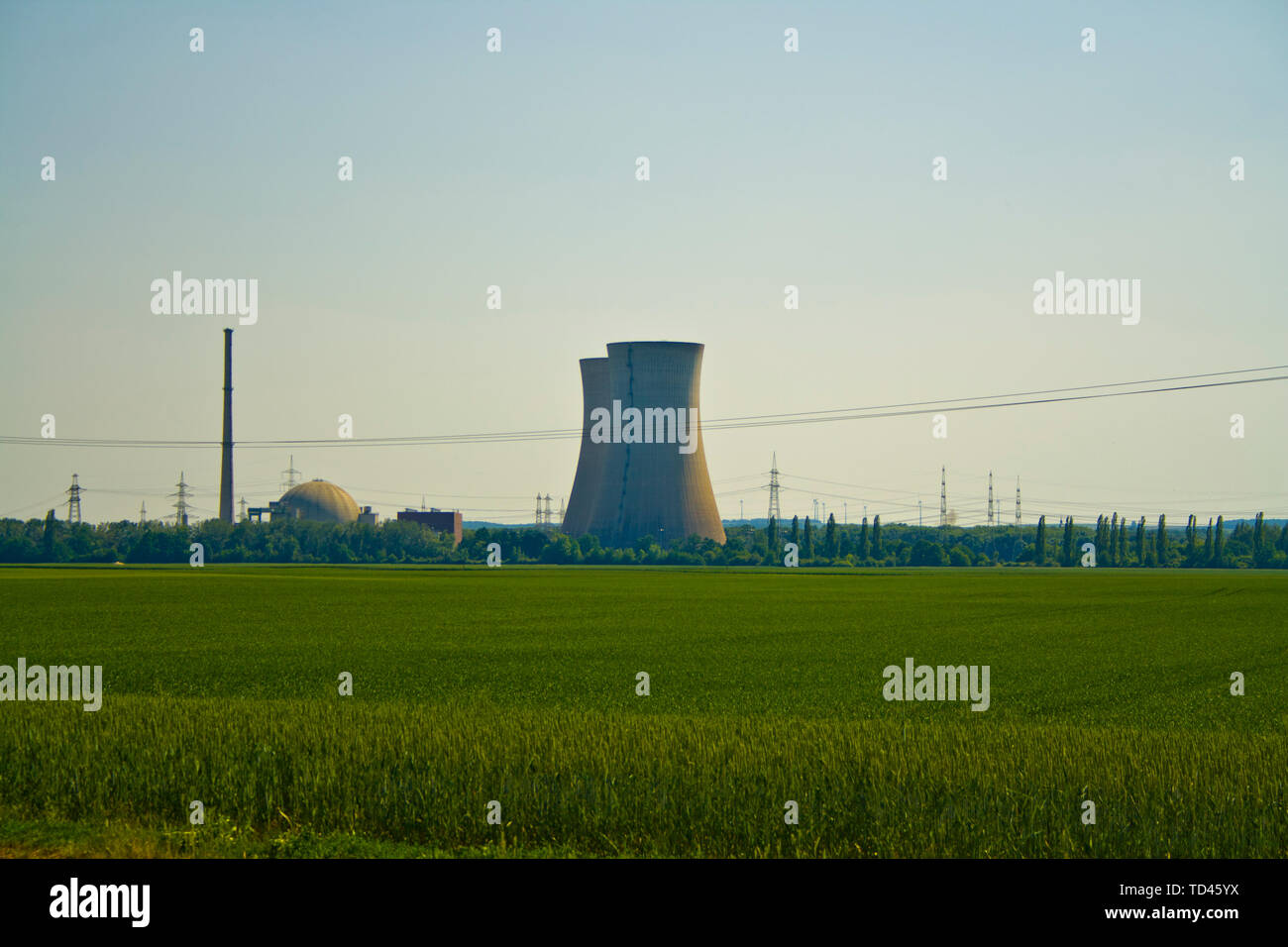 Panoramic view of Nuclear power plant - Stock Image