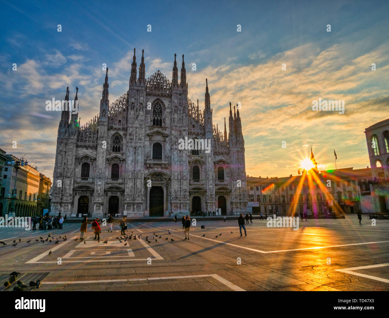 St. Mary of Nativity Cathedral (Duomo) at sunrise, Milan, Lombardy, Italy, Europe - Stock Image