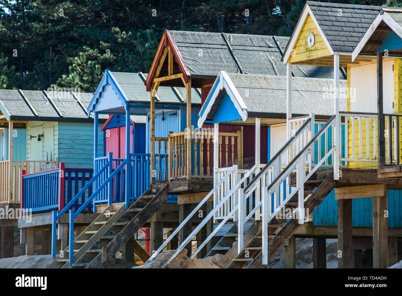 Colourful beach huts on Wells beach at Wells next the Sea on North Norfolk coast, Norfolk, East Anglia, England, United Kingdom, Europe Stock Photo