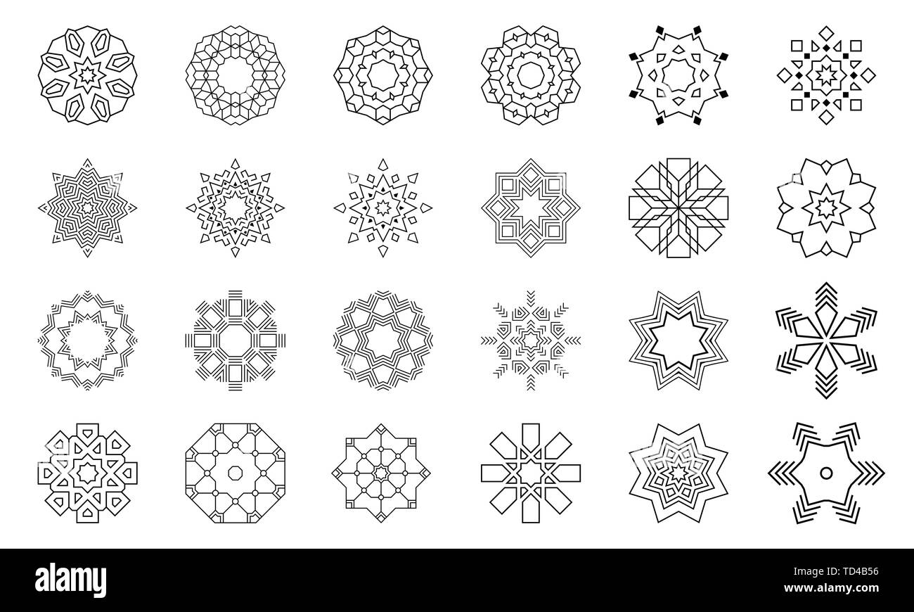 Set of abstract geometric symmetric center shapes. Collection of symbols for your design. Isolated on white background. Design elements, ornaments. - Stock Image