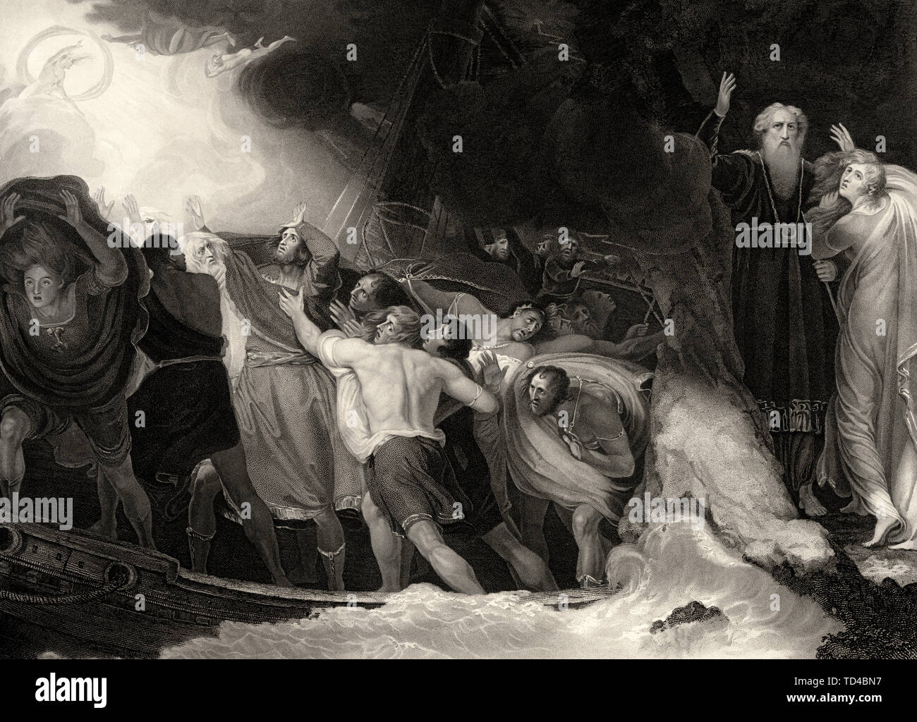 Act I, Scene 1 of The Tempest by William Shakespeare. The titular tempest wrecks the ship of King Alonso. As revealed in Act I, Scene 2, the tempest was conjured by Prospero (old man, right), who sent the spirits (seen in the upper left) to create the storm. Stock Photo