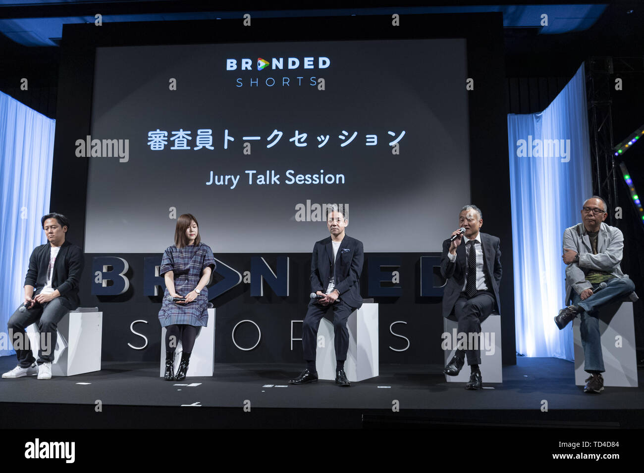 June 11, 2019 - Tokyo, Japan - (L to R) Creative director and copywriter Akihiro Fukube, film director U-ki Yamato, film director Akira Nagai, Morihiko Hasebe Executive Creative Director of Hakuhodo Inc. and film director Isshin Inudo, speak during a Jury Talk Session for the Branded Shorts 2019 as part of the Short Shorts Film Festival & Asia 2019 (SSFF & Asia) at Akasaka Intercity Conference Center the AIR in Tokyo. The Branded Shorts 2019 presented branded short films publicizing companies and products streamed on the internet. The SSFF & Asia 2019 is one of Asia's largest international sho - Stock Image