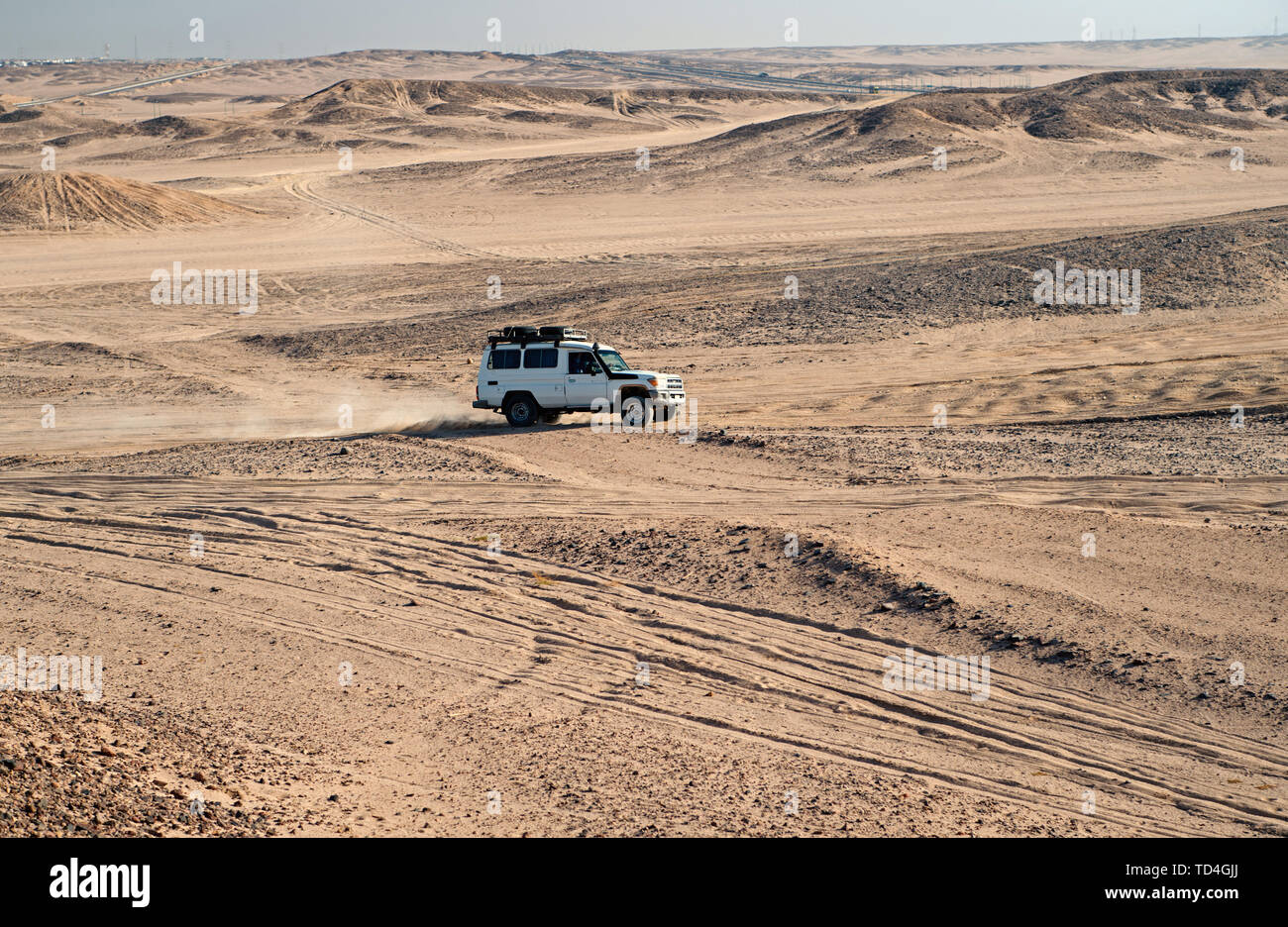 Race in sand desert. Car suv overcomes sand dunes obstacles. Competition racing challenge desert. Car drives offroad with clouds of dust. Offroad vehicle racing with obstacles in wilderness. - Stock Image