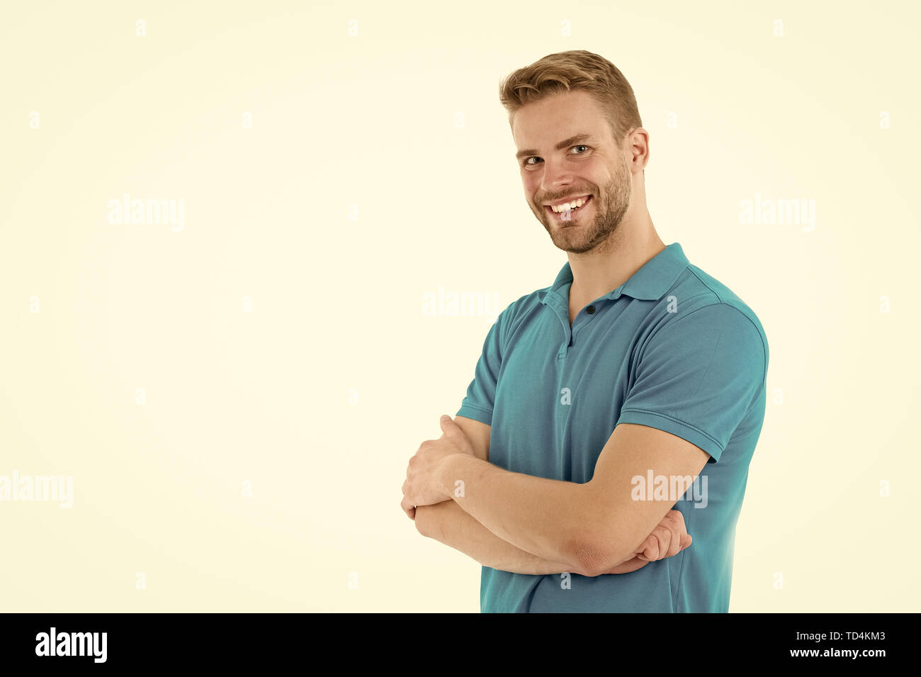 Man sport clothes isolated on white background. Bearded man in blue casual clothes. Sport fashion style and trend. Fitness and gym clothes. Macho wear clothes for active lifestyle workout or training. - Stock Image