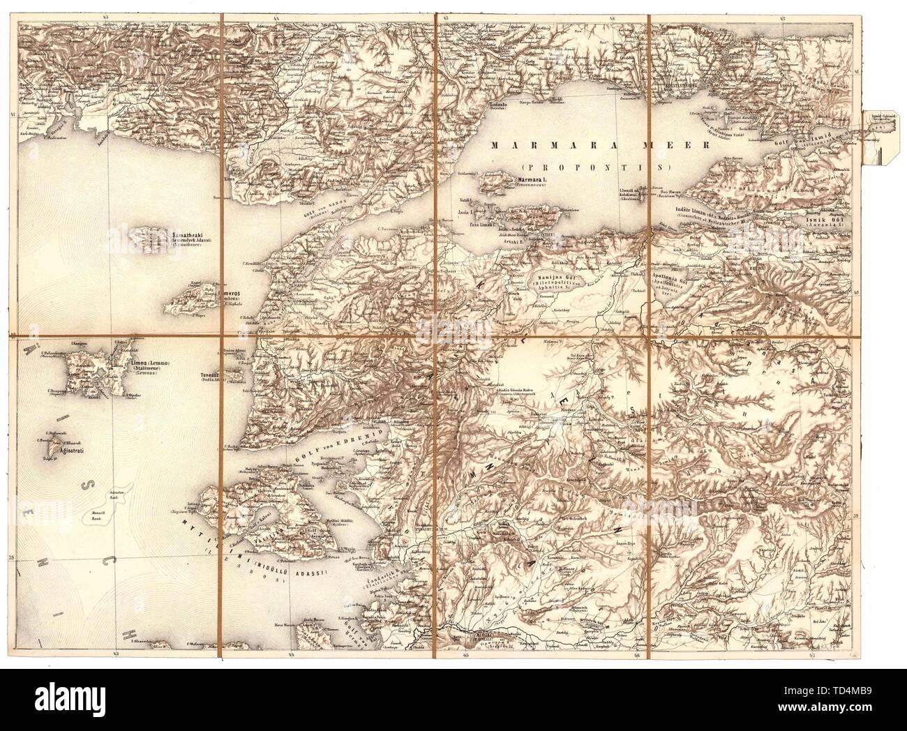 Marmara-Meer, Dardanellen, nordöstliche türkische Mittelmeerküste aus der Generalkarte der europäischen Türkei und Griechenlands; between 18 Stock Photo
