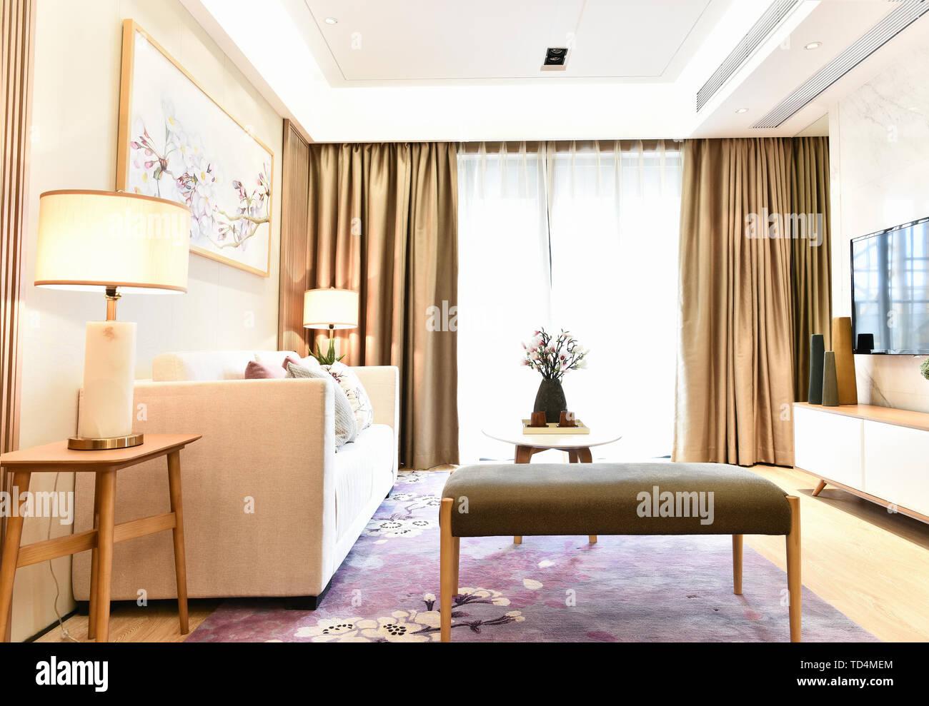 Modern Minimalist Home Floor To Ceiling Windows Living Room Study Bedroom Design Stock Photo Alamy