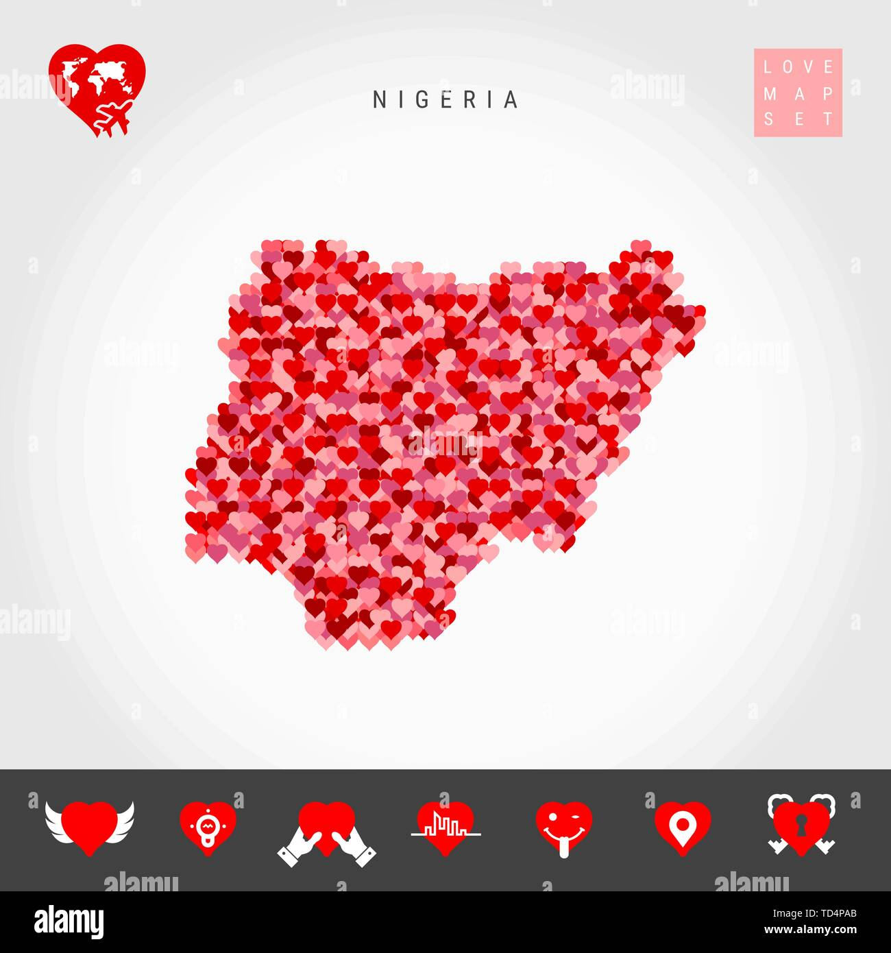 I Love Nigeria. Red and Pink Hearts Pattern Vector Map of Nigeria Isolated on Grey Background. Love Icon Set. - Stock Vector