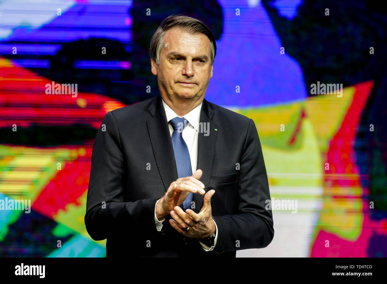 Sao Paulo, Brazil. 11th June, 2019. President Jair Bolsonaro, PSL, received the medal of the Order of Industrial Merit, at the Sesi Theater, at the headquarters of the Federation of Industries of the State of Sao Paulo, FIESP, on Avenida Paulista, the Economist Paulo Guedes and the President of FIESP Paulo Skaf. Credit: AGIF/Alamy Live News - Stock Image