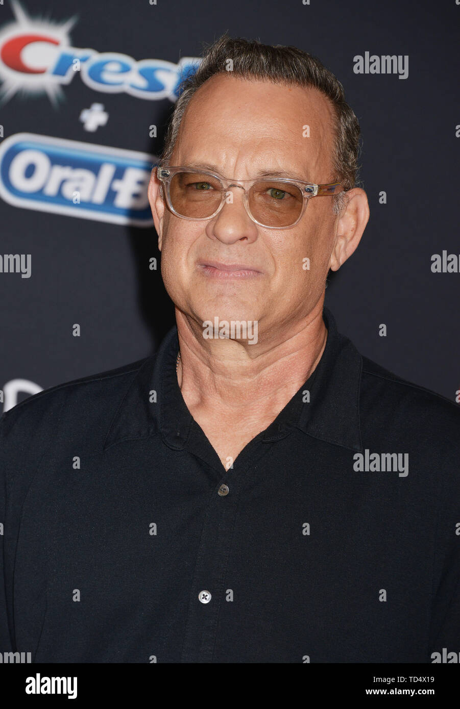 Tom Hanks 046 arrives at the premiere of Disney and Pixar's 'Toy Story 4' on June 11, 2019 in Los Angeles, California. - Stock Image