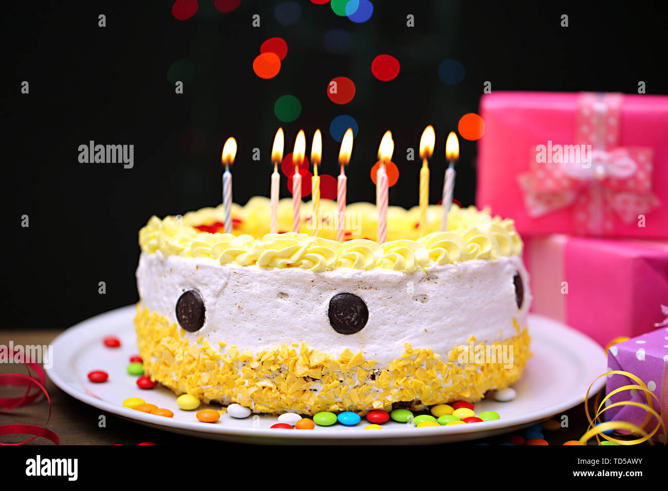 Miraculous Happy Birthday Cake And Ts On Black Background Stock Photo Personalised Birthday Cards Petedlily Jamesorg