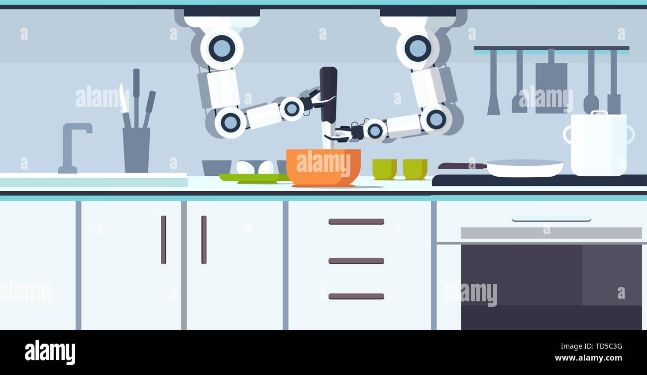 smart handy chef robot preparing omelet beating eggs in bowl robotic assistant innovation technology artificial intelligence concept modern kitchen - Stock Vector