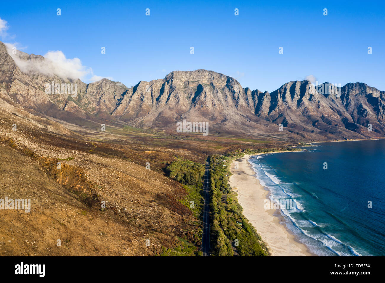 Drone imagery of Kogel Bay Beach an hour from Cape Town, South Africa, Africa Stock Photo