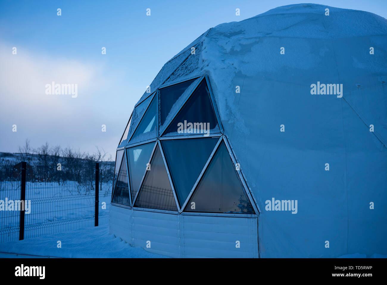 Murmansk, Russia, February, 2019: view of the Aurora Village, winter, Murmansk. - Stock Image