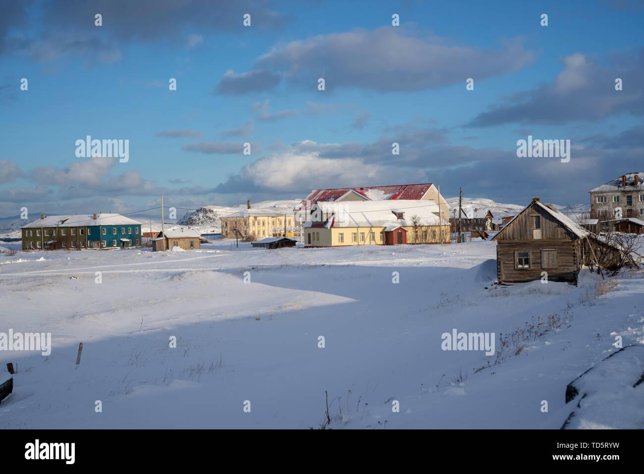 Teriberka, Russia, February, 2019: view of the village of Teriberka. Winter, Murmansk. - Stock Image