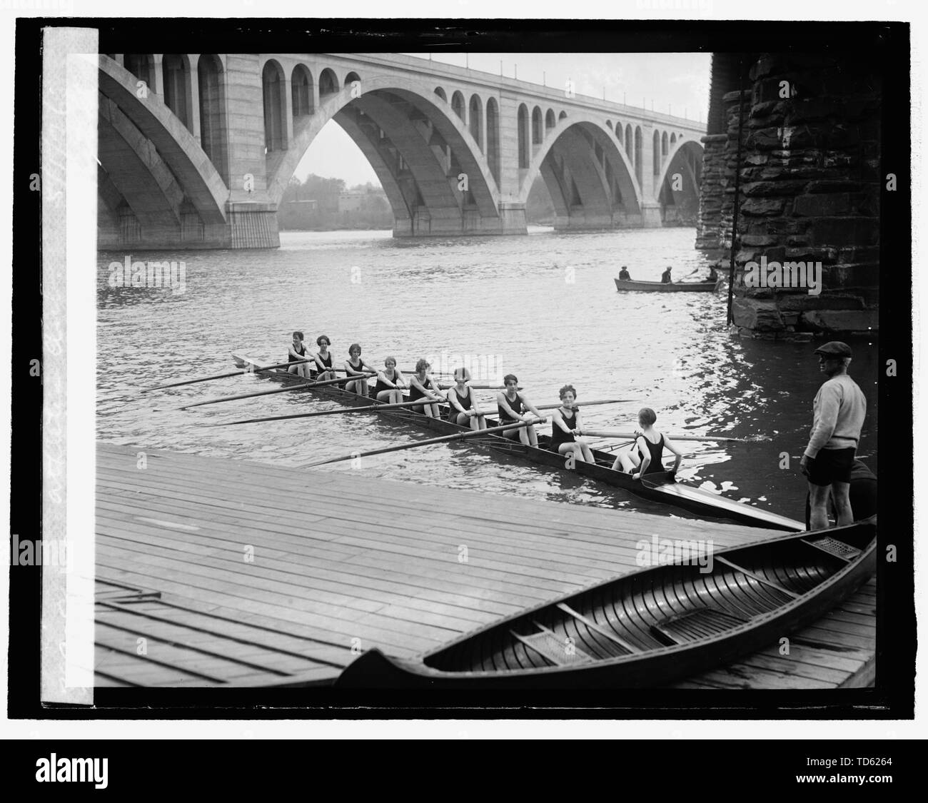 """""""English: Title: 8-oar shell crew of Capital Athletic Club, 5/1/26 Abstract/medium: 1 negative: glass; 4 x 5 in. or smaller; 1926; Library of Congre Stock Photo"""