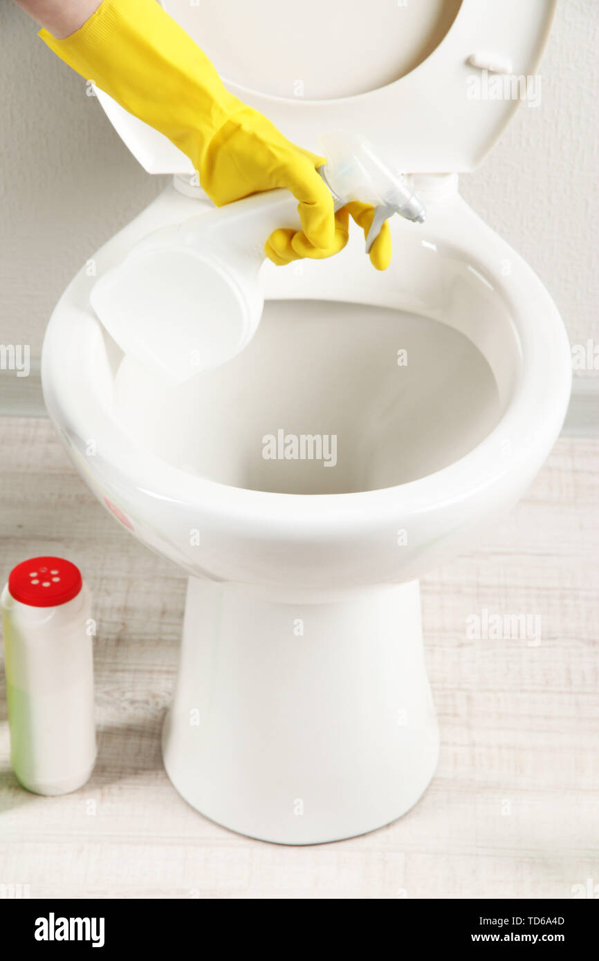 Surprising Woman Hand With Spray Bottle Cleaning A Toilet Bowl In A Inzonedesignstudio Interior Chair Design Inzonedesignstudiocom