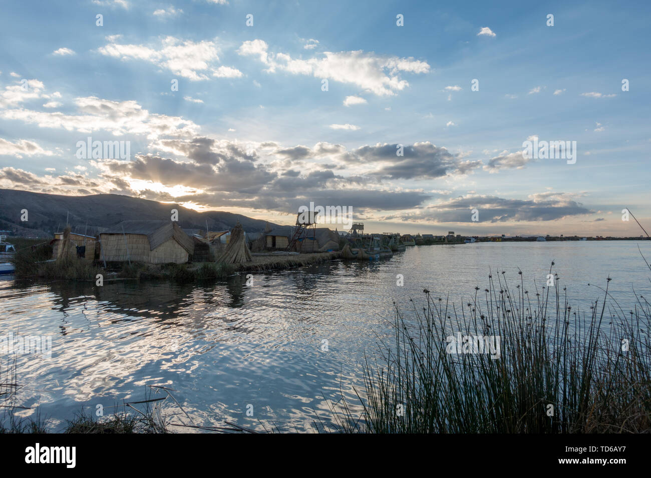The titicaca lake and its floating villages. A high dynamic range image. - Stock Image