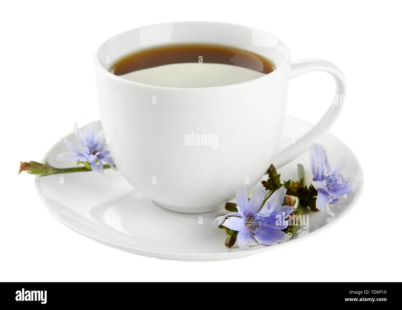 Cup of tea with chicory, isolated on white - Stock Image