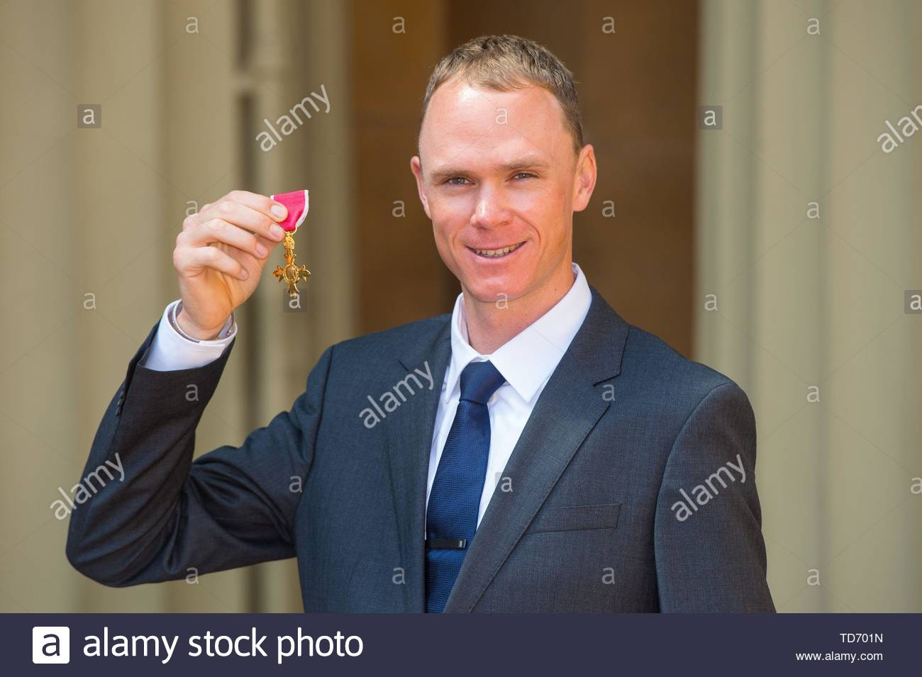 File photo dated 13-05-2016 of Double Tour de France winning cyclist Chris Froome after he received an OBE from the Duke of Cambridge at an investiture ceremony at Buckingham Palace, London. - Stock Image