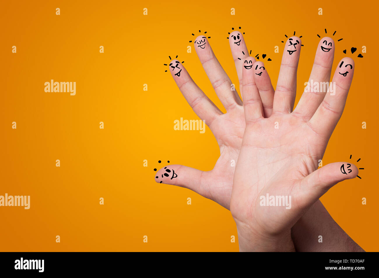 Waggish happy fingers with team building concept - Stock Image