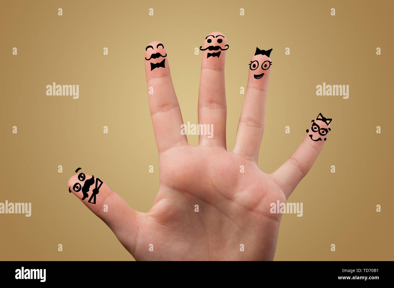 Elegant happy face fingers hugs each other  - Stock Image